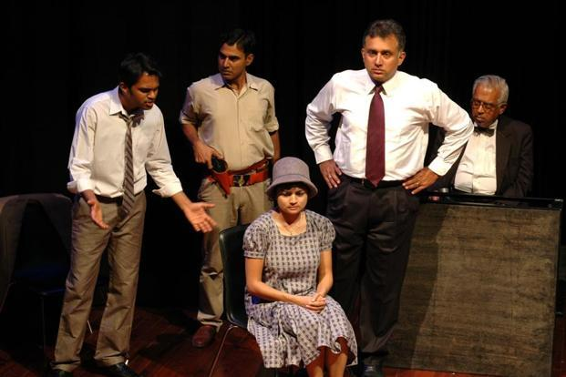A scene from the play 'Inherit the Wind'